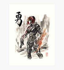 Female Shepard with Japanese Calligraphy Courage Art Print