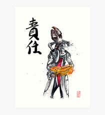 Mordin from Mass Effect Sumie Style with calligraphy Responsibility Art Print