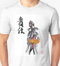 Mordin from Mass Effect Sumie Style with calligraphy Responsibility T-Shirt