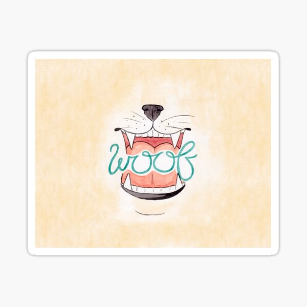 Woof - Watercolour Illustration of Dog Mouth, Tongue, Nose and Whiskers With Calligraphy Lettering Quote Sticker