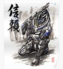 Mass Effect Garrus Sumie style with Japanese Calligraphy Poster