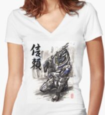 Mass Effect Garrus Sumie style with Japanese Calligraphy Women's Fitted V-Neck T-Shirt