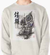 Mass Effect Garrus Sumie style with Japanese Calligraphy Pullover