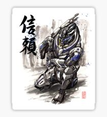 Mass Effect Garrus Sumie style with Japanese Calligraphy Sticker