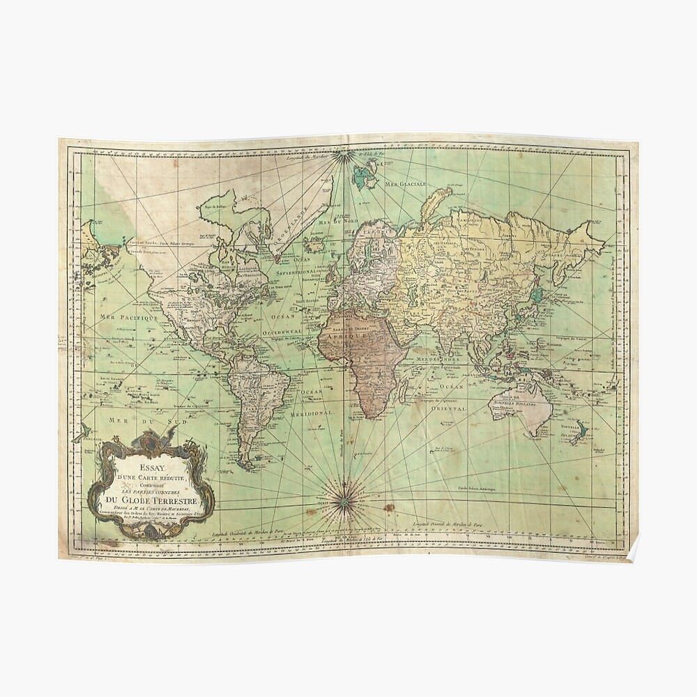 Vintage Map of The World (1778) Poster