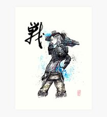 Jack from Mass Effect Sumie Style with calligraphy FIGHT Art Print