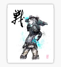 Jack from Mass Effect Sumie Style with calligraphy FIGHT Sticker