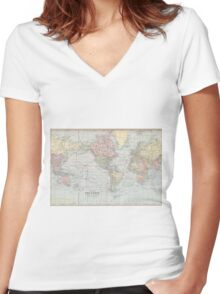 Vintage World Map (1901) Women's Fitted V-Neck T-Shirt