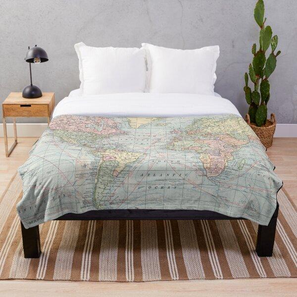 Vintage World Map (1901) Throw Blanket