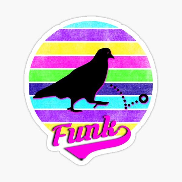 Pigeons Playing Ping Pong Neon Vintage Sunset  Sticker