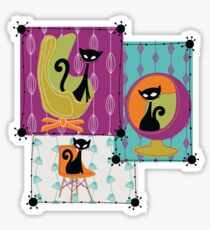 60's RETRO MID-CENTURY MODERN CATS Sticker