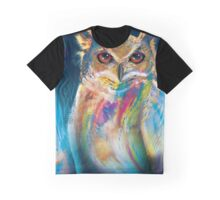 A Colorful Owl Graphic T-Shirt