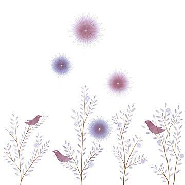 Twigs Birds Flowers - White by DionisiSandra