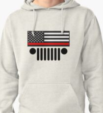 Jeep Firefighter Red Line Flag Pullover Hoodie