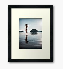 Woman dancing in morning sunlight in the nature art photo print Framed Print