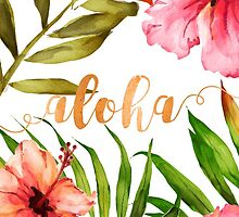 Hawaiian Tropical Floral Aloha Watercolor by Abigail Vigh