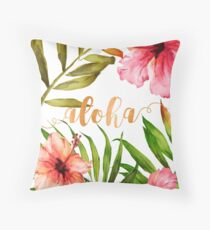 Cojín Hawaiian Tropical Floral Aloha Watercolor