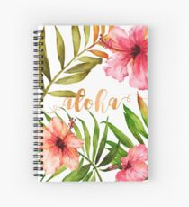 Cuaderno de espiral Hawaiian Tropical Floral Aloha Watercolor