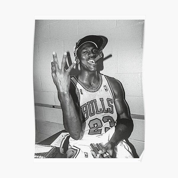 90's vintage Michael Jordan Three-peat Black and White Metal Print Tapestry Poster