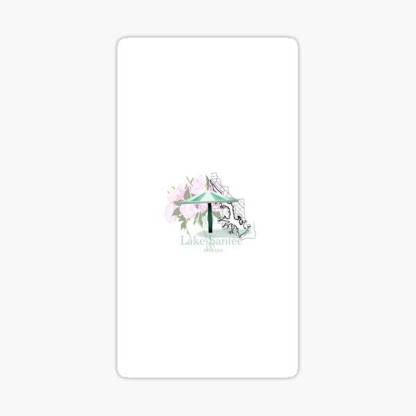 Lake Santee Indiana Map with Peony Flowers Sticker