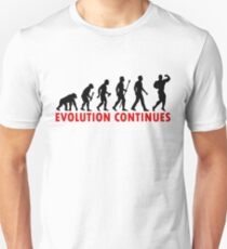 Funnny Bodybuilding Evolution Of Man Pose Silhouette T-Shirt