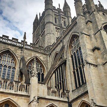 Towers of Bath Abbey in England by darkesknight