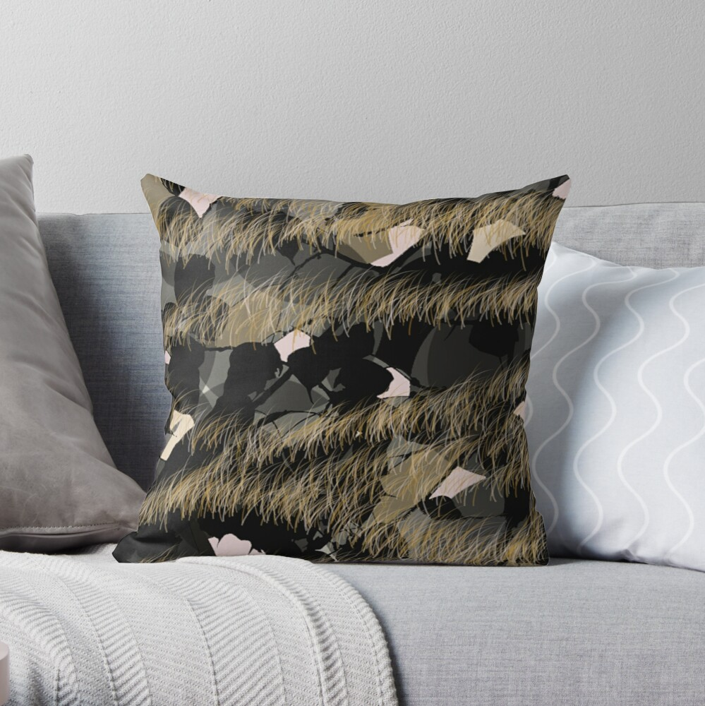 Gold fringe Throw Pillow