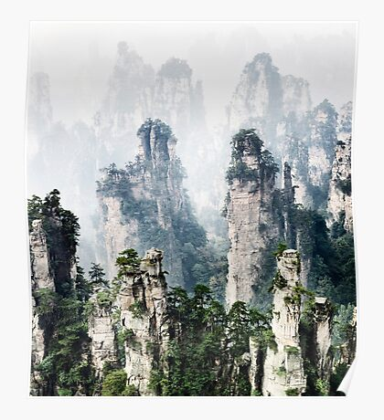 Floating mountains Zhangjiajie National Forest Park art photo print Poster