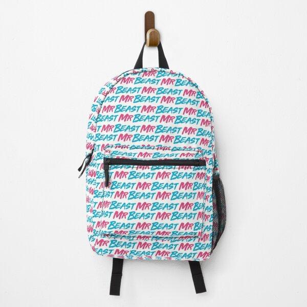 Mr. Beast /. Mr Blue Lion Beast (Text Pattern - White) - Useless Madala Backpack
