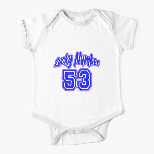 Blue Lucky Number 53 Short Sleeve Baby One-Piece