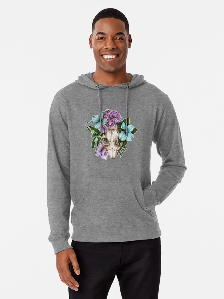 'Beaver Skull with Flowers' Lightweight Hoodie by E Moss