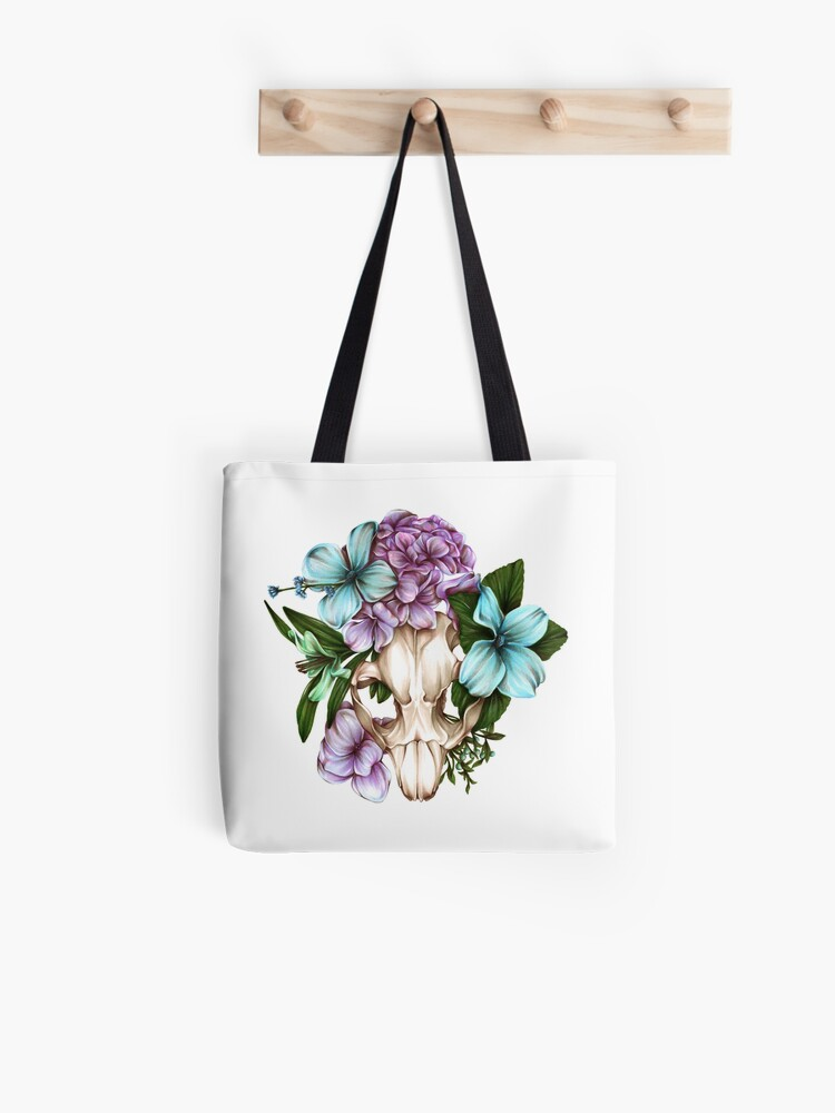 Beaver Skull with Flowers   Tote Bag