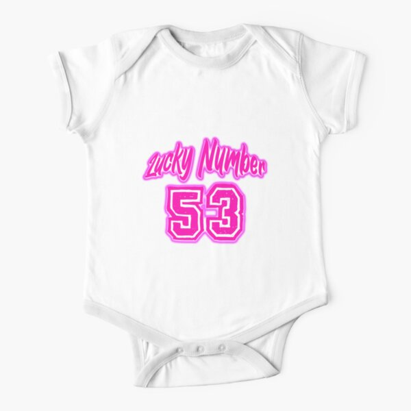 Pink Lucky Number 53 Short Sleeve Baby One-Piece