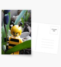 Bumblebee Lady in the Flowers Postcards