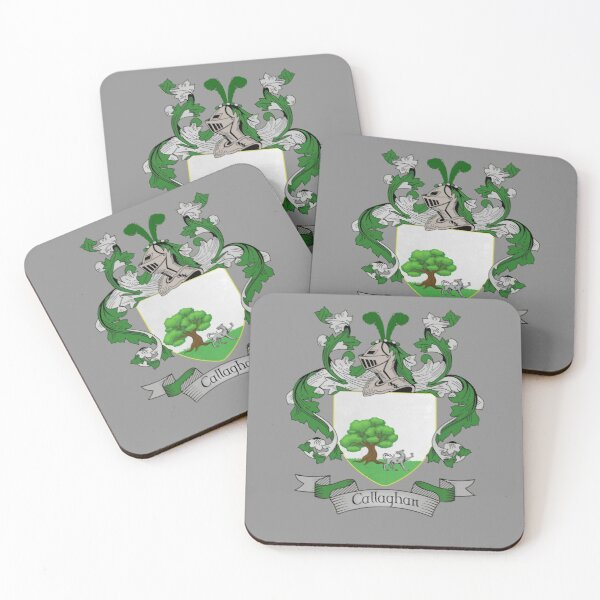 Callaghan Coat of Arms - Callaghan Family Crest Shirt Coasters (Set of 4)