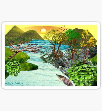 Leaf flower Pattern /lake side  ( 824 Views) Sticker