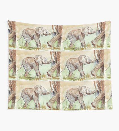 Baby Elephant walk Wall Tapestry