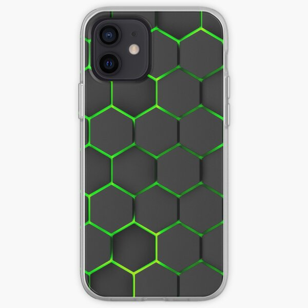 futuristic, modern design, technology, black hexagons with yellow and green light background iPhone Soft Case