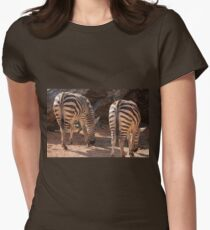 zebra in the forest Women's Fitted T-Shirt