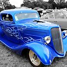 Classic Ford with Blue Flames by Vicki Spindler (VHS Photography)