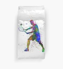 tennis player in silhouette 01 Duvet Cover