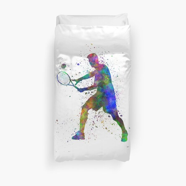 joueur de tennis en silhouette 01 Housse de couette