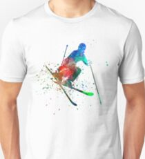woman skier freestyler jumping Unisex T-Shirt