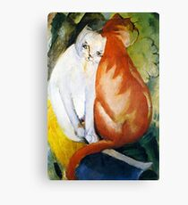 Two Cats Red and White by Franz Marc Canvas Print