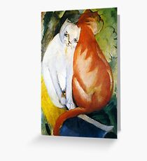 Two Cats Red and White by Franz Marc Greeting Card