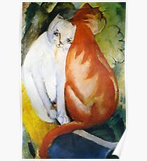 Two Cats Red and White by Franz Marc Poster