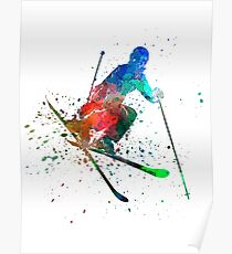 woman skier freestyler jumping Poster