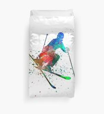 woman skier freestyler jumping Duvet Cover