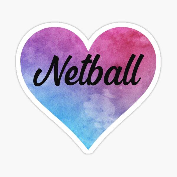 Netball girl watercolor heart sticker Sticker