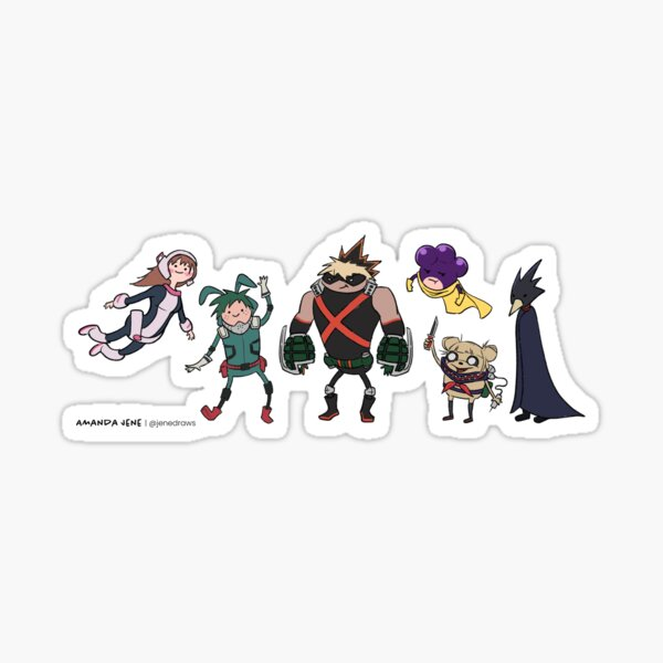 My Hero Academia Characters in a Cartoon Style Sticker